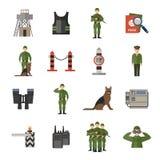 Border Guard Icons Flat Stock Photo