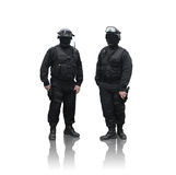 Border Guards. Two border guards with hands on their guns isolated on white background royalty free stock image