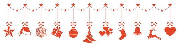 Border of hanging Christmas ornaments Royalty Free Stock Image