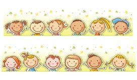 Border with happy cartoon kids vector illustration