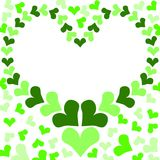 Heart jungle leafs border frame. Border with a heart frame and green heart shaped leafs relating to environmental issues. Go green concept Royalty Free Stock Images
