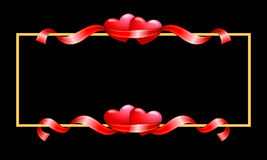 Border with hearts and ribbons. Valentines frame with hearts and ribbons Royalty Free Stock Photography