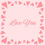 Border with hearts. Romantic hearts border on light background Royalty Free Stock Photos