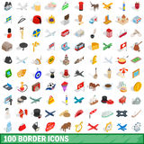 100 border icons set, isometric 3d style. 100 border icons set in isometric 3d style for any design vector illustration vector illustration