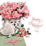 Border image with many pink roses and stuffed heart on white background. Space for your text or greeting on the right. Design for an Anniversary, Mother`s day stock photos