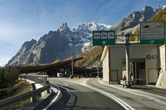 Border Italy-France Tunnel Mont Blanc. Tunnel Monte Bianco - Courmayeur and Alps Stock Photography