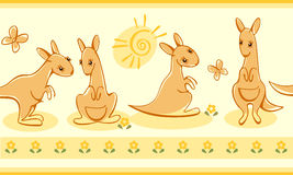 Border with kangaroos. Royalty Free Stock Images
