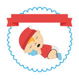 Border with label and sleep baby boy Royalty Free Stock Photo