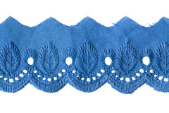 Border lace. Tape of blue border lace on white background royalty free stock photos