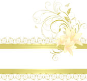 Border with lilies and floral ornament. Illustration Royalty Free Stock Photos