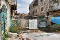 Border line. Border line in Hebron. Israel Stock Photo