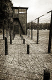 Border line guard tower with heavy wire barrier in Stutthof Royalty Free Stock Photo