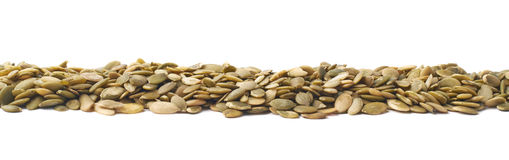 Border line made of pumpkin seeds Stock Photo