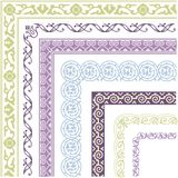 Border, lines ornamental vinage set with corner. Border, lines ornamental vintage set with corner. Decorative elements for design invitations, frames, menus stock illustration