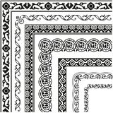 Border, lines ornamental vinage set with corner. Border, lines ornamental vintage set with corner. Decorative elements for design invitations, frames, menus royalty free illustration