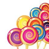 Border of lollipops. stock illustration