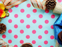 Border made of colorful gift bow ribbon border background Stock Image