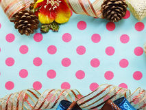 Border made of colorful gift bow ribbon border background Royalty Free Stock Photos