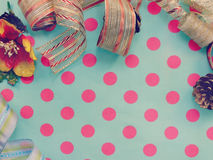 Border made of colorful gift bow ribbon border background Royalty Free Stock Photo