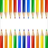 Border made of colorful pencils Stock Photos