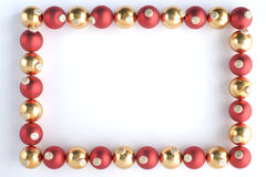 Border Made From Red And Gold Baubles. Against White Background Stock Photos