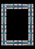Border made of stained glass. Stained glass frame with floral colored motifs on borders isolated on black (with clipping path Stock Image