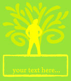 Border and man silhouette with. Yellow border on green background with man silhouette and tree Royalty Free Stock Images