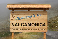 Border marker of Valcamonica municipality Stock Image