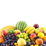 Border of mixed fruits isolated on white with copy space Stock Images