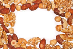 Border of Mixed Nuts. With blank space to write a text Royalty Free Stock Image