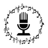 Border musical notes with microphone Royalty Free Stock Image