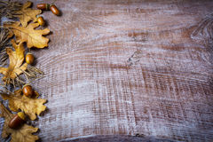 Border of oat, acorn and fall leaves on the old wooden backgroun Stock Image
