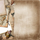 Border with old documents, photo on the vintage background Stock Photos