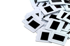 Border of old transparency slides with copy space over white  Stock Image