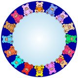 Border out of teddy bears stock image