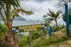 Border between Panama and Colombia - Bienvenidos Panama Welcome Panam sign.  royalty free stock images