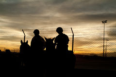 Border Patrol. Mounted border patrol silhouetted at sunset Stock Photography