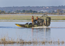 Border Patrol on the Namibia / Botswana border. Members of the BDF (Botswana Defense Force) patrolling the river border between Botswana and Namibia. The Chobe stock images