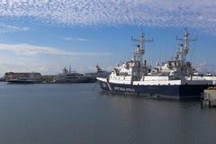 Border patrol ship Krasnodarets in Sochi seaport Royalty Free Stock Photos