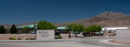 Border Patrol Station, El Paso Texas Entrance and overview. El Paso, TX US Border Patrol Station El Paso, Texas Main entrance, sign office building and the new stock photography
