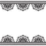 Border pattern elements with flowers in Indian mehndi style for card and tattoo isolated on white background. Royalty Free Stock Images