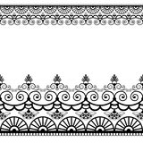 Border pattern elements with flowers and lace lines in Indian mehndi style isolated on white background. Stock Photo