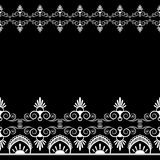 Border pattern mehndi elements with flower lace lines in Indian style for card and tattoo isolated on black background. Stock Photos