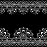 Border pattern mehndi elements with flower lace lines in Indian style for card and tattoo isolated on black background. Stock Images