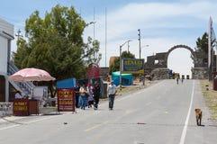 Border Peru-Bolivia. Peruvian border to Bolivia, between Yunguyo (Peru) and Copacabana (Bolivia), near Lake Titicaca stock photos