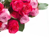 Border of pink flowers. Low poly illustration border of pink rose flowers close up Stock Images
