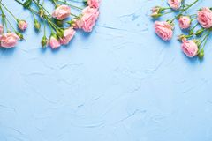 Border From Pink Roses Flowers On Light Blue Textured