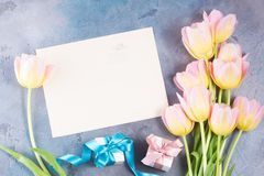 Pink and yellow tulips. Border of pink and yellow tulips with gift boxes on gray stone background frame with copy space on paper note Royalty Free Stock Images