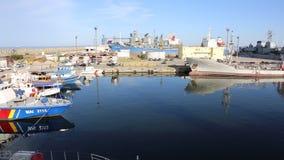Border police boat - coast guard. Border police coast guard anchored in seaport Constanta, Romania stock video footage