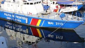 Border police boat - coast guard. Border police coast guard anchored in seaport Constanta, Romania stock footage